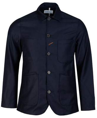 Universal Works Flannel Bakers Jacket Colour: NAVY, Size: MEDIUM