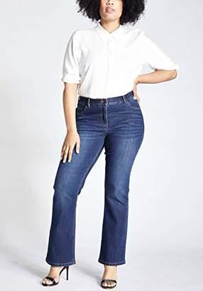 Ulla Popken Women's Jeans Marie, Bootcut, Komfortbund, 5-Pocket,54W