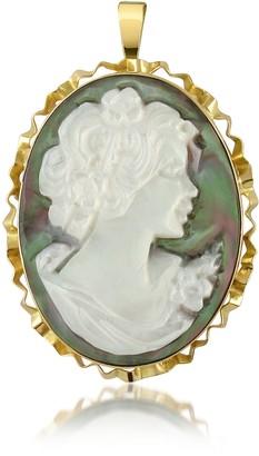 Del Gatto Woman Mother of Pearl Cameo Pendant/Pin