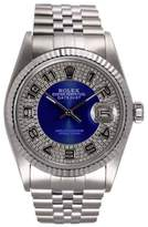 Rolex Datejust Stainless Steel and 18K White Gold Blue Diamond Bulls Eye Tuxedo Dial 36mm Watch
