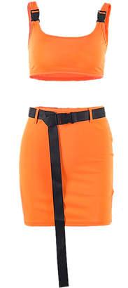 Yokodea Women's Pencil Skirts NeonOrange - Neon Orange Buckle-Accent Crop Top & Belted Mini Skirt - Women