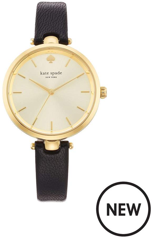 Kate Spade New York Classic White And Gold-Tone Dial Black Leather Ladies Watch