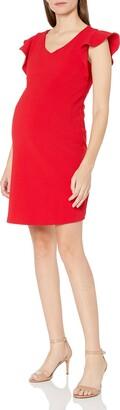 Maternal America Women's Maternity Flutter Sleeve Dress