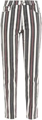 Frame Distressed Striped High-rise Slim-leg Jeans