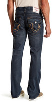 True Religion Dark Wash Distressed Straight Leg Flap Pocket Jean