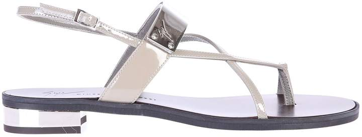 Giuseppe Zanotti Grey Sandals With Patent Effect