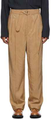 Lemaire Tan Silk Pleated Trousers