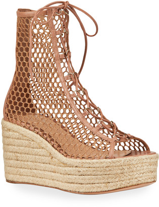Gianvito Rossi Napa Mesh Lace-Up Wedge Espadrilles