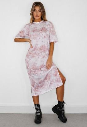 Missguided Tall Pink Tie Dye Midi T Shirt Dress