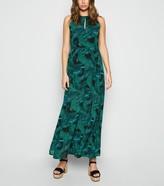 New Look Blue Vanilla Leaf Print Maxi Dress