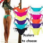 CROSS1946 Sexy Brazilian Ruched Semi Thong Bikini Bottom Women Tie Side By UPS L