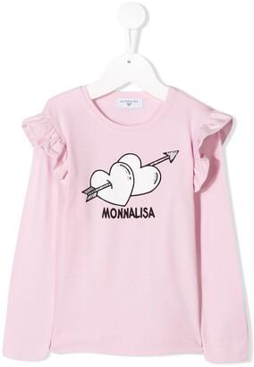 MonnaLisa graphic print long-sleeved T-shirt