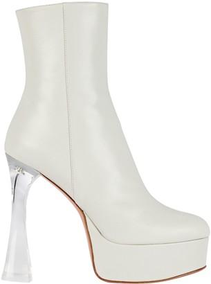 Amina Muaddi Dua Glass Leather Platform Ankle Boots