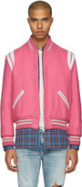 Saint Laurent Pink Wool Teddy Bomber Jacket