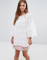 Maison Scotch Embroidered Top With Flared Sleeves
