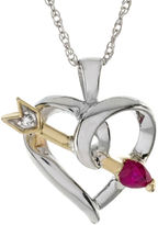 JCPenney FINE JEWELRY Heart-Shaped Lead Glass-Filled Ruby and Diamond-Accent Heart and Arrow Pendant Necklace