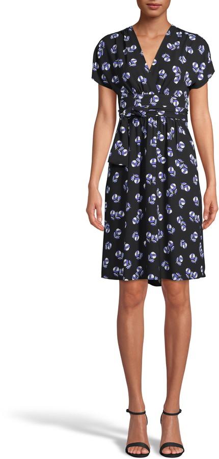 Anne Klein Print Faux Wrap A-Line Dress