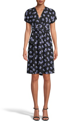 Anne Klein Print Faux Wrap A-Line Dress