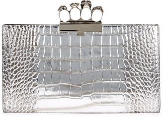 Alexander McQueen Silver Embellished Crocodile-effect Leather Clutch