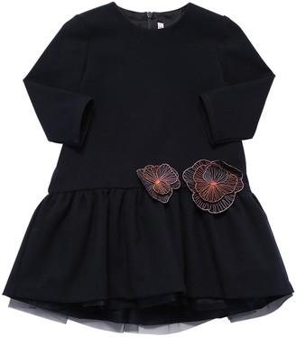 Il Gufo VISCOSE BLEND DRESS W/ FLOWER APPLIQUES