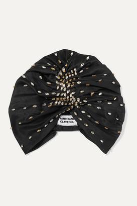 MaryJane Claverol Shaila Crystal-embellished Pleated Silk Turban - Black