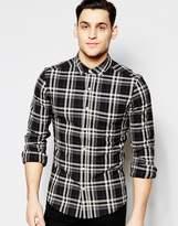 Asos Skinny Shirt In Black Check In Long Sleeve