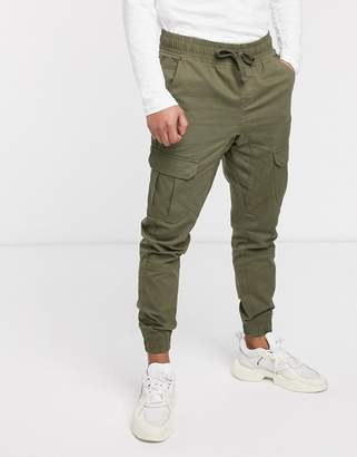 Another Influence cuffed cargo pants-Green