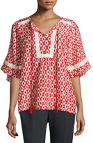 Kate Spade Short-Sleeve Ikat-Print Crochet-Trim Top, Red Chestnut/Multi