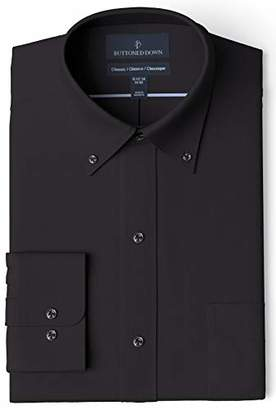 Buttoned Down Amazon Brand Men's Classic Fit Button-Collar Solid Pinpoint Dress Shirt