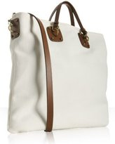white canvas leather handle large tote