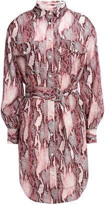 Current/Elliott Snake-print Cotton And Silk-blend Mini Shirt Dress