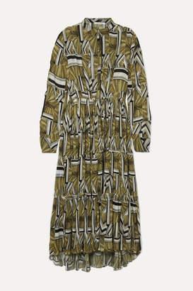Holzweiler - Aria Printed Plisse-chiffon Maxi Dress - Yellow