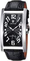 Croton Men's 'Aristocrat' Quartz Stainless Steel and Leather Casual Watch, Color:Black (Model: CN307533BSBK)