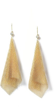 Tiffany & Co. Elsa Peretti Mesh earrings in 18k gold with diamonds, large