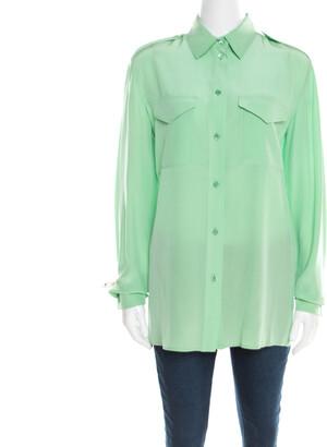 Chloé Green Silk Long Sleeve Blouse M