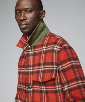 Todd Snyder Wool Plaid Cruiser Jacket in Orange
