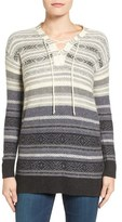 Lucky Brand Women's Lace-Up Stripe Sweater