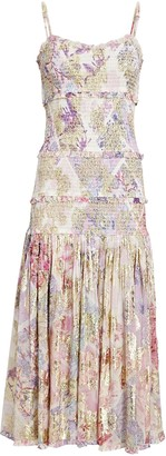 HEMANT AND NANDITA Asher Smocked Floral Midi Dress
