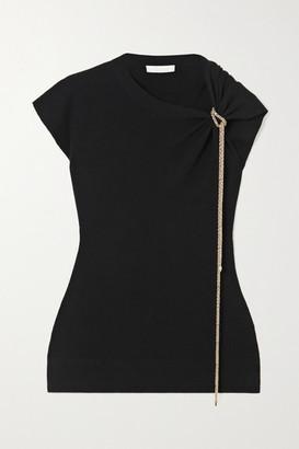 Chloé Asymmetric Chain-embellished Wool Top - Black
