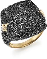 Armenta 18K Yellow Gold & Blackened Sterling Silver Old World Champagne Diamond & Black Sapphire Signet Ring