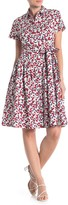 Donna Morgan Cherry Print Poplin A-Line Shirt Dress