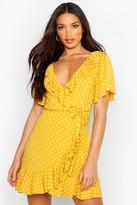 boohoo Alana Wrap Spot Print Frill Detail Tea Dress
