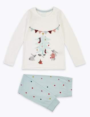 Marks and Spencer Cotton Christmas Bunny Pyjamas (1-7 Years)