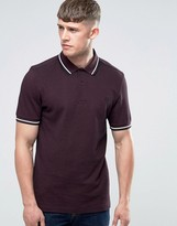 Fred Perry Polo Shirt With Tipping In Mahogany