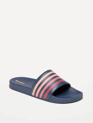 Old Navy Faux-Leather Striped Logo-Graphic Slides for Boys