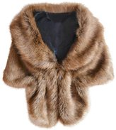 Pooqdo Women Bridal Faux Fur Long Shawl Stole