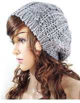 Fashion Winter Women Lady Beret Braided Baggy Beanie Crochet Knitting Hat Cap (Light Grey)