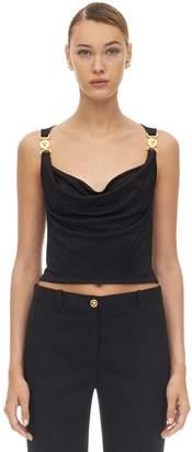 Versace Draped Stretch Jersey Top