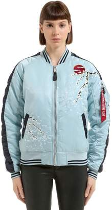 Alpha Industries Floral Embroidered Nylon Bomber Jacket