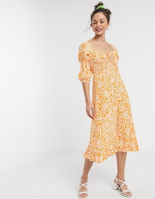 Faithfull The Brand Faithfull nora square neck floral midi dress with 3/4 sleeve in orange
